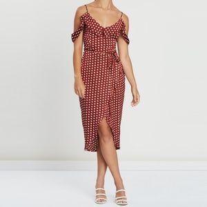 Rust Spot Print Satin Frill Midi Tea Dress